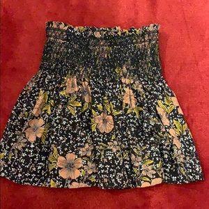 Silk Pleated Floral Skirt in Noir Pink